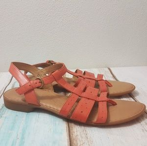 BORN Marisol Coral Leather T-Strap Sandals 10